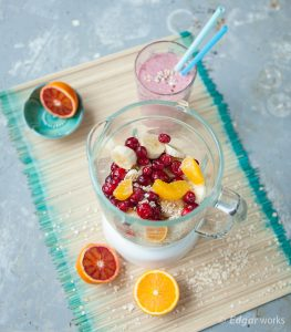 Havermoutsmoothie met cranberry's